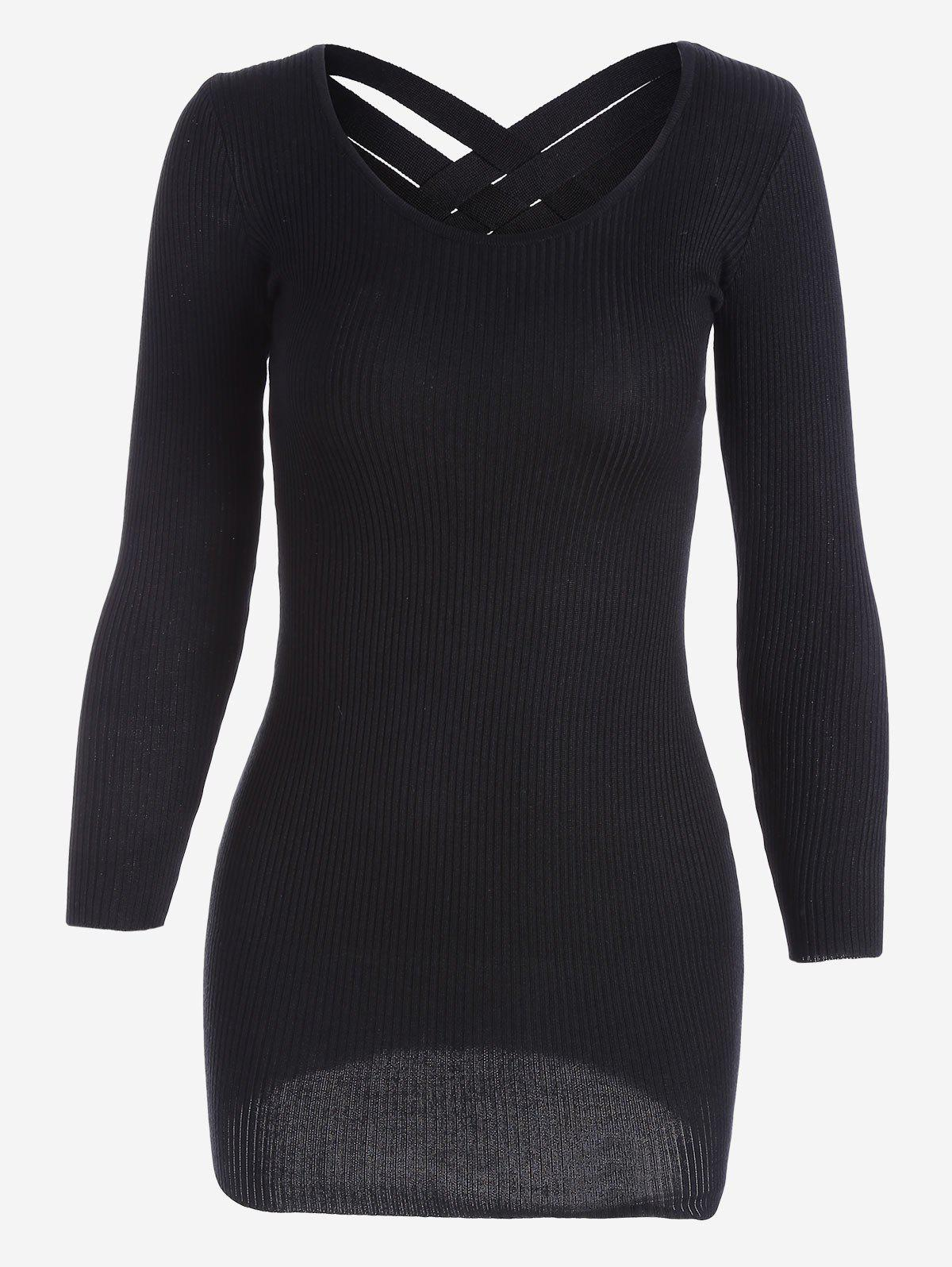 Long Sleeve Ribbed Knitted Dress 223368101