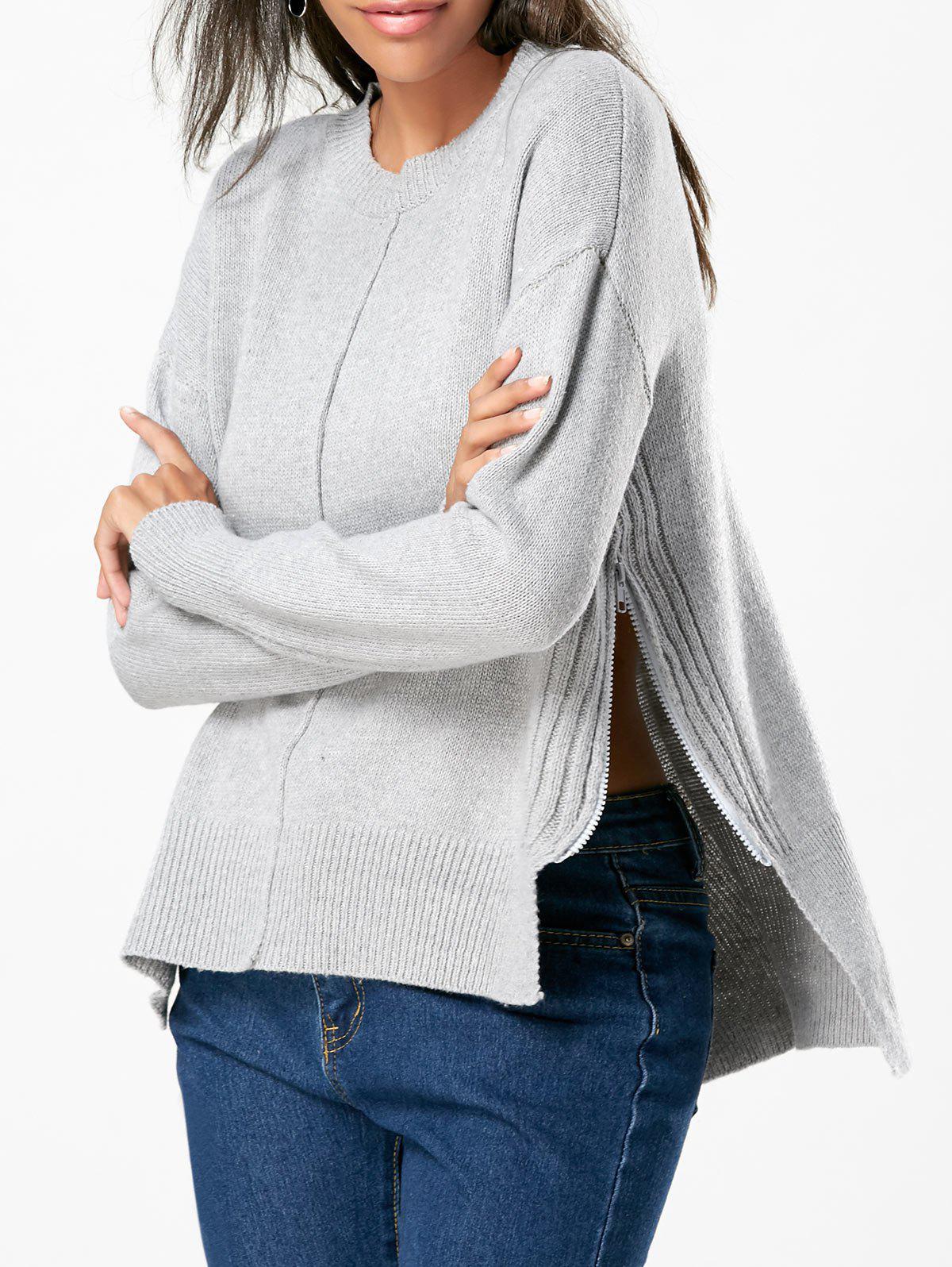High Low Slit Zip Drop Shoulder Sweater 223755801