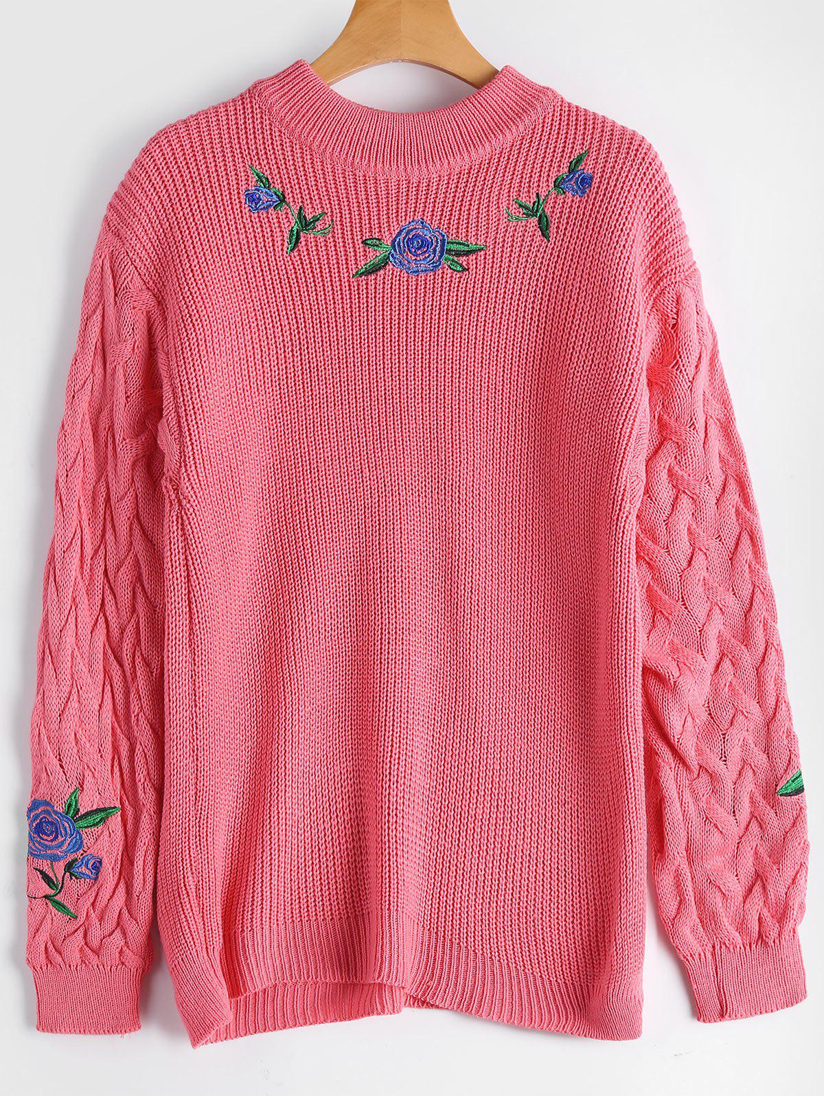 Ribbed Floral Embroidered Cable Knit Sweater 223431703