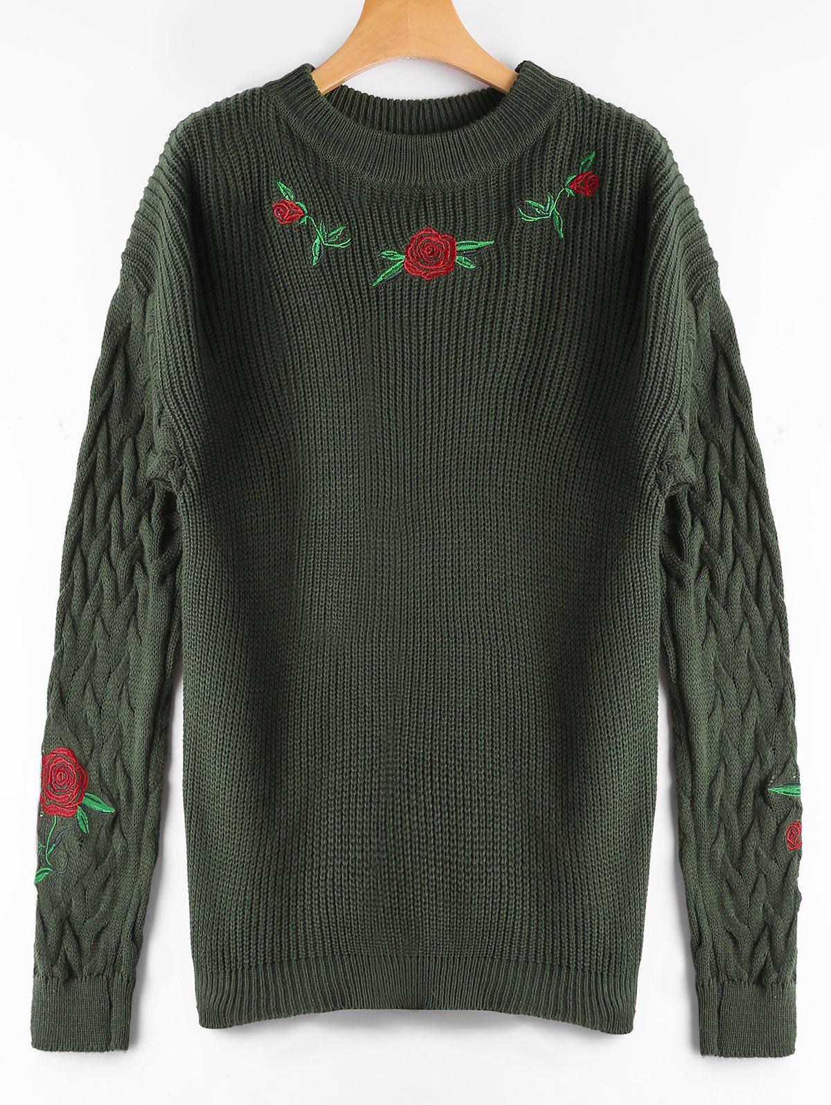 Ribbed Floral Embroidered Cable Knit Sweater 223431702