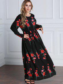 فستان طويلة الأكمام طباعة الوردة ماكسي بخط A  - الأزهار L