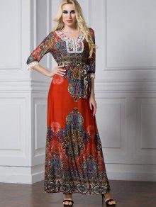 فستان طباعة دانتيل التريم ماكسي بخط A  - Xl