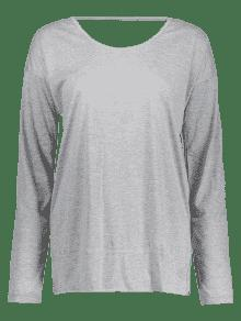 Abierta Camiseta Torcida Xl Gris Larga Manga De tR4US