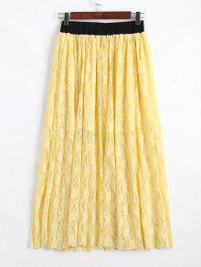 Elastic Waist Lined Lace Maxi Skirt - Yellow S