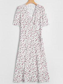 Polka Dot Overlay Wrap Dress - White L