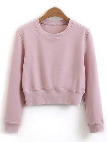 f74dac8dba2 26% OFF] 2019 Crew Neck Casual Cropped Sweatshirt In SHALLOW PINK ...