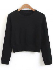 203e3010526903 26% OFF] 2019 Crew Neck Casual Cropped Sweatshirt In BLACK | ZAFUL