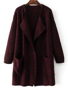 Open Front Heathered Knit Cardigan With Pockets - Wine Red