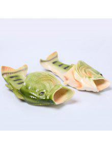 البلاستيك اللون كتلة الأسماك على شكل شباشب - أخضر حجم (37-38)