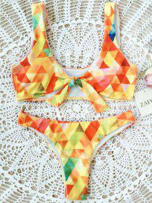 Juego De Bikini Anudado Argyle Acolchado - Amarillo S