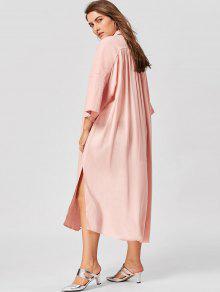 فستان شيرت الحجم الكبير جانب الانقسام - عارية الوردي 5xl