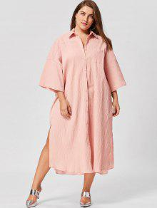 312fd9cb63d3 25% OFF  2019 Plus Size Flare Sleeve Shirt Dress In NUDE PINK