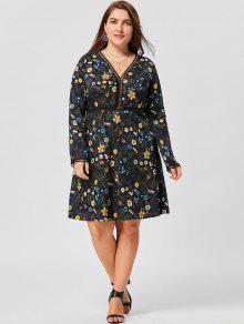 زائد حجم الخامس الرقبة الأزهار فستان طويل الأكمام - الأرجواني الأزرق 2xl