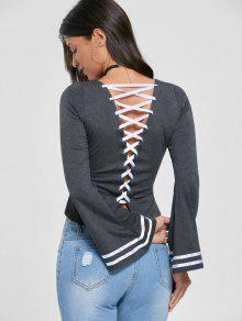 Lace Up Flare Sleeve Top - Mouse Grey 2xl