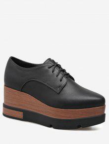 حذاء من الجلد المزيف ذو أربطة كعب من الإسفين - أسود 39