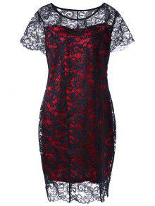 فستان دانتيل الحجم الكبير ضيق ملائم - الأحمر مع الأسود 4xl