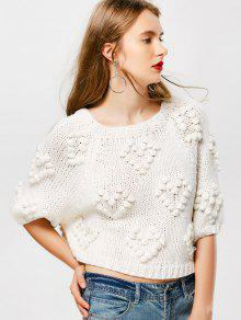 Pullover Raglan Sleeve Poms Sweater - Milk White