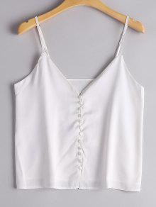 Button Up Plain Cami Top - White Xl