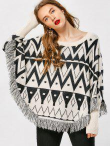 Tassel Zig Zag Cape Sweater - Geometric Print