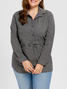زائد حجم مخطط بونوت قميص - رمادي 5xl