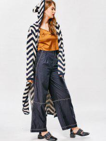 Hooded Zig Zag Side Slit Cardigan - Stripe