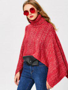 Heathered Turtle Neck Cape Sweater - Red