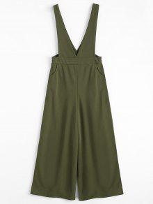Plunge Suspender Wide Leg Jumpsuit - Army Green L
