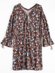 Tassels Floral Lace Up Midi Dress - Floral L
