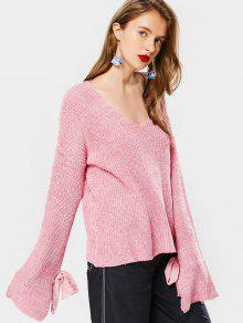 Loose Bowknot V Neck Sweater - Pink