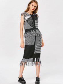 Striped Tassel Knitwear And Bodycon Skirt - Black