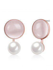 Declaración Faux Opal Pearl Aretes Redondos - Rosa De Oro
