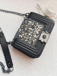Chain Faux Leather Stitching Crossbody Bag