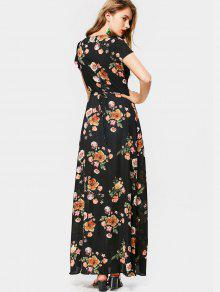 e6b6237431a 35% OFF  2019 Cap Sleeve Floral Wrap Maxi Dress In FLORAL