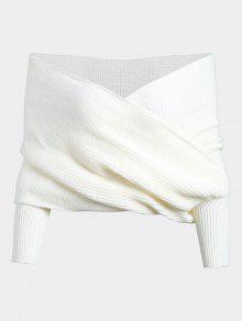 Chandail Épais Cache Coeur Enveloppant  - Blanc