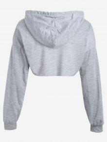 9529311e36e0f 32% OFF  2019 Cut Out Drawstring Crop Hoodie In GRAY
