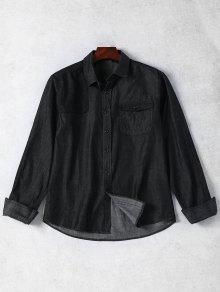 Pocket Single Breasted Denim Shirt - Black M