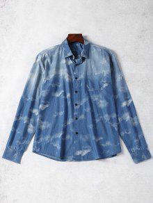Del Lazo Camisa ida Bolsillo L Mezclilla Azul De Te qBxBXap