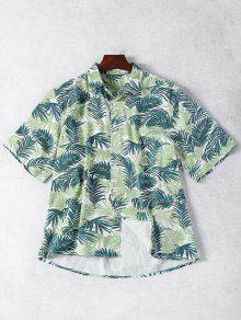 نصف كم ورقة طباعة قميص الدنيم - الأزهار S