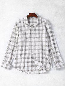 Cotton Blend Tartan Shirt - White M