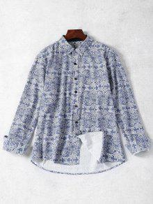 Long Sleeve Retro Print Shirt - Blue M