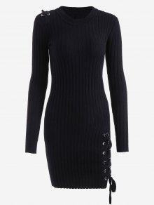 فستان مصغر رباط محبوك - أسود