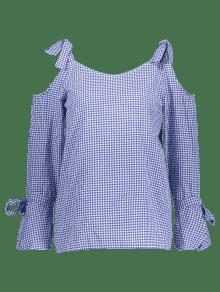 Fr De Blusa Hombro 237;o Cuadros Azul A M qUxf7I