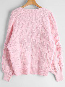 Cable Knit Lace Up Oversized Cardigan PINK: Sweaters ONE SIZE | ZAFUL