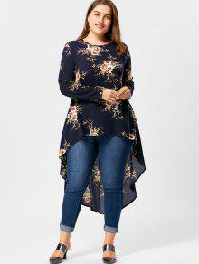 7a1e93df05a 30% OFF  2019 Plus Size Tiny Floral High Low Hem Blouse In CADETBLUE ...