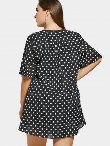 3ee7b31aadd 25% OFF  2019 Polka Dot Plus Size Chiffon Smock Dress In BLACK