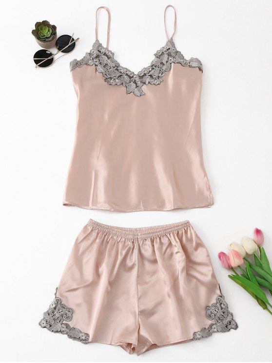 Applique Satin pijama Set - Rosa beige  L