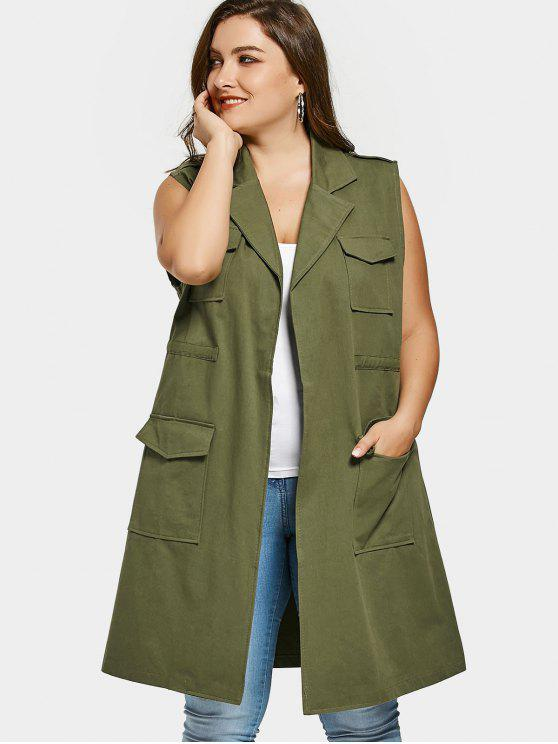 womens Pockets Lapel Collar Plus Size Waistcoat - ARMY GREEN 3XL