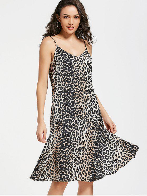 shop Leopard Flounces Swing Slip Dress - LEOPARD S