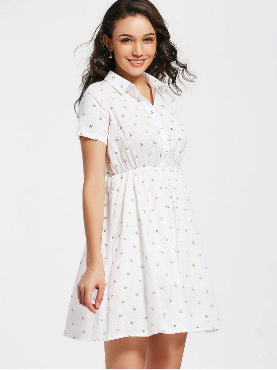 unique Half Buttoned Bee Print A Line Dress - WHITE S