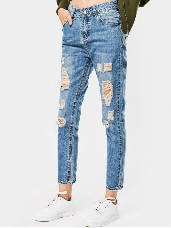 Pantalones vaqueros del lápiz de la alta cintura destruida - Denim Blue 29